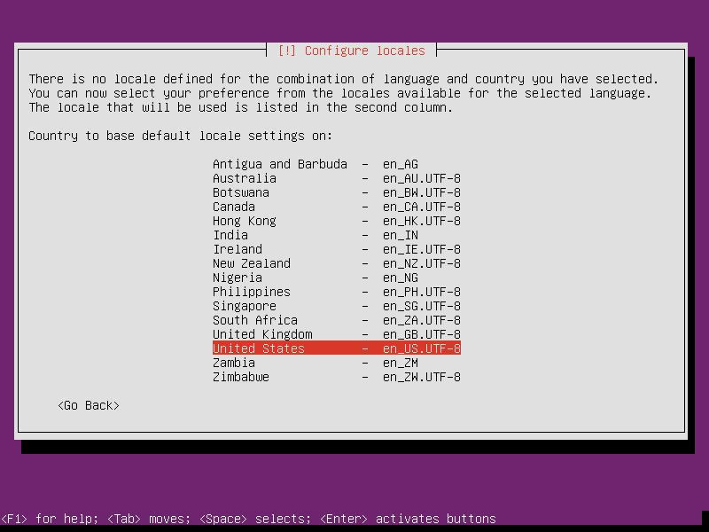 Установка Ubuntu. Выбор локалей