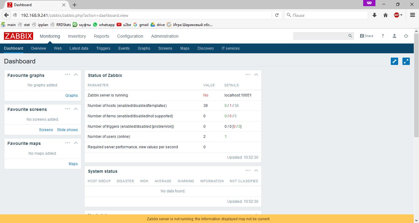 Панель управления Zabbix 3.0