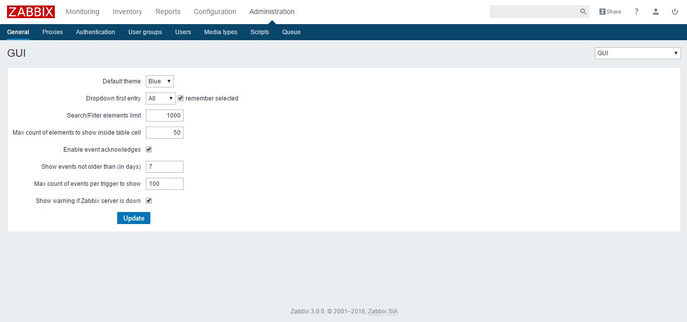 zabbix administration
