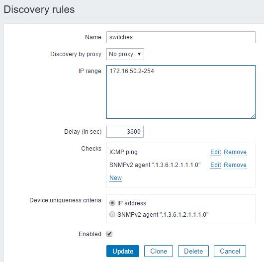 Zabbix discovery rule